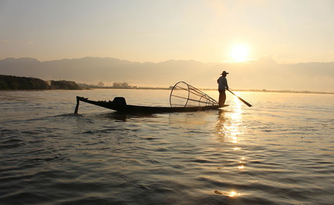 Inle Lake in sunrise