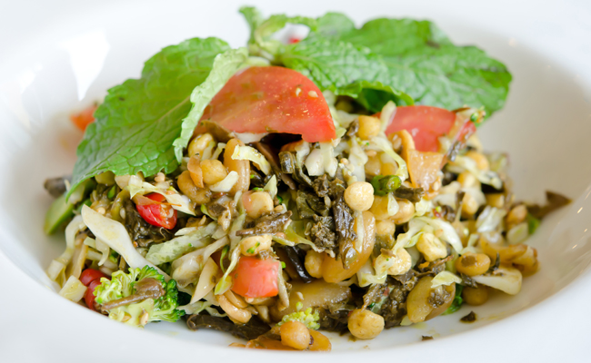 Tea leaf salad, locally named Lahpet Thoke